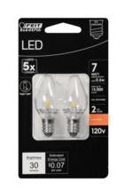 Feit Electric LED Candelabra Night Light Bulb, 7 Watt, E12, 2 Pack - $8.69