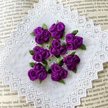 20 Trio Purple Roses,Mini Satin Roses,Craft Flowers,Sewing,Applique,Embe... - $7.95
