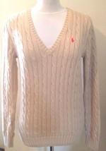 Ralph Lauren Damen beige sand Zopfmuster V-Ausschnitt Pullover Größe L - $82.97