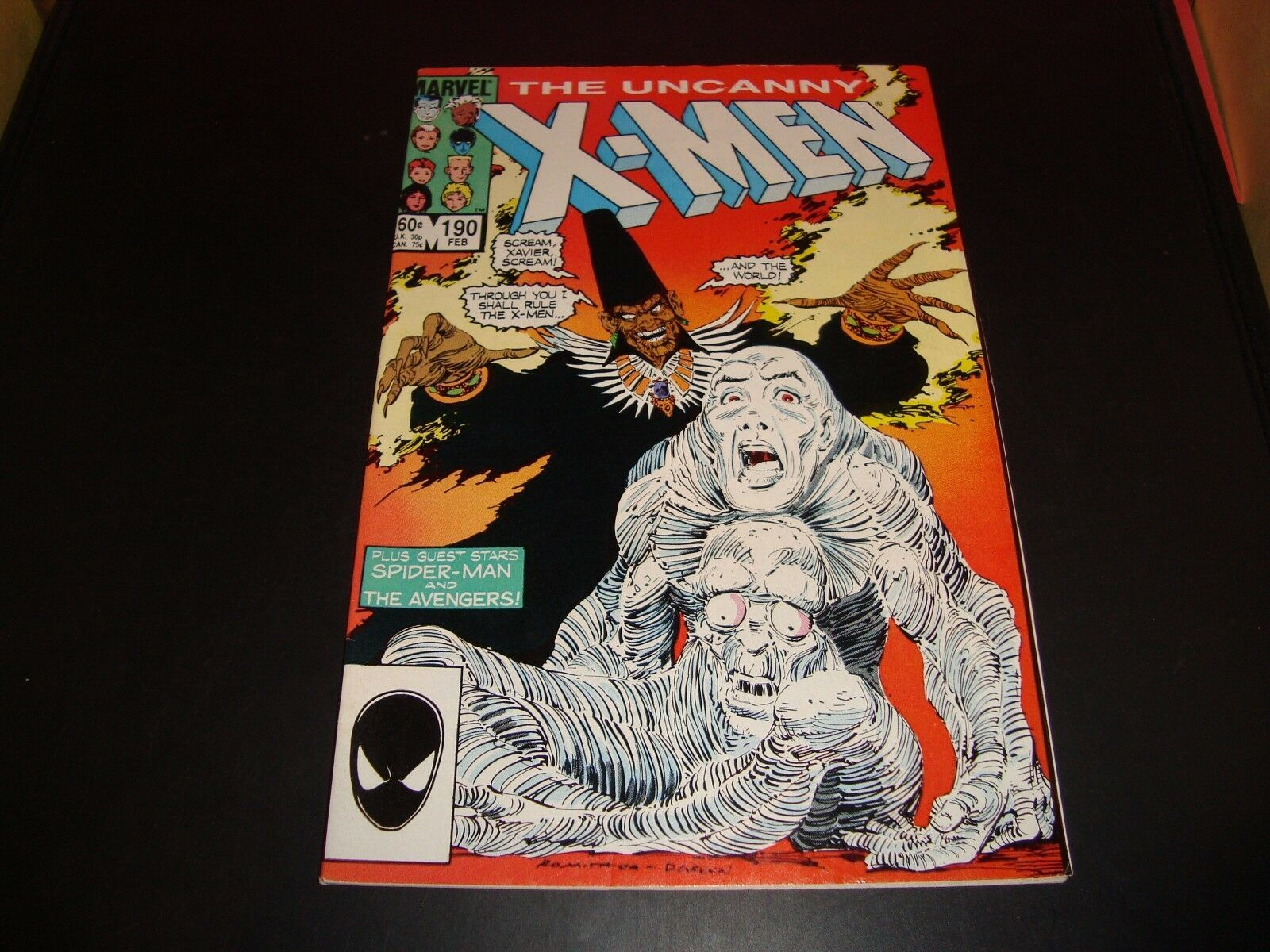 Uncanny X-Men #190 1985 Marvel Comic Book Spider-Man & Avengers FN Condition 7.0