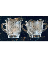 Vintage Sugar & Creamer Crystal Scalloped Edge Heavy Etched Flowers - $25.74