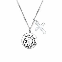 FUSTMW with God All Things are Possible Christian Necklace Bible Verse C... - $10.93