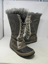 Sorel Womens Cate The Great Winter Boots Gray Lace Up Faux Fur Waterproo... - $188.09