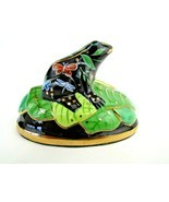 Lynn Chase Designs Hand Painted Porcelain Frog On Lily Pad Butterfly, Dr... - $108.90