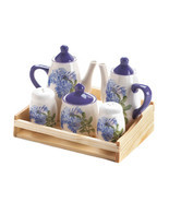 Organic Tea Set, Small White Ceramic Tea Set Chic Floral Design - $32.56 CAD
