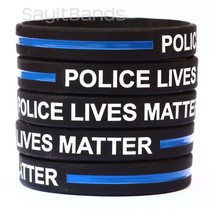 50 Police Lives Matter Wristbands Thin Blue Line Law Enforcement Awareness Bands - $38.49