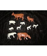 Vintage Playset Figures Lot Cows Lamb Marx - $28.99