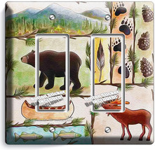 Hunting Cabin Fever Moose Grizzly Bear 2 Gfci Light Switch Wall Plate Room Decor - $11.69