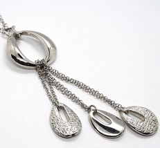 SILVER 925 NECKLACE, CHAIN ROLO', THREE DROPS HANGING, WORKED AND SMOOTH image 3