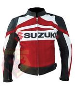 RED SUZUKI GSX-R MOTORBIKE COWHIDE LEATHER MOTORCYCLE BIKER JACKET - $184.99