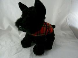 "Keel Toys Soft Black Scottie Dog with Tartan Jacket 9"" X 10"" ADORABLE! - $13.85"