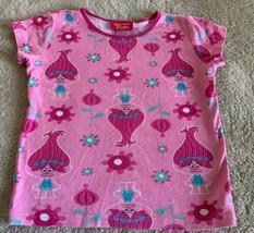 Trolls Girls Pink Poppy Teal Flowers Snug Fit Short Sleeve Pajama Shirt 10 - $5.00