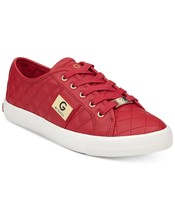 G by Guess Women's Backer2 Lace Up Leather Quilted Pattern Sneakers Shoes Red