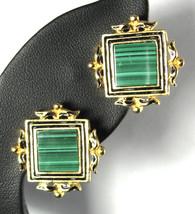 Renaissance Revival Green Malachite Earrings Clips Museum Of Fine Arts 1980s - $36.00