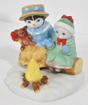 Kitty Cucumber Cat Figurine Winter Campfire Holiday Anthropomorphic Cats... - $18.37