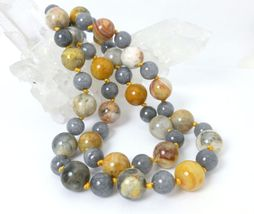 Orange Cream Crazy Lace Agate Gray Jade Beaded Sweater Necklace 23 inch - $53.00