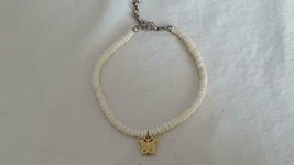 "Vintage Artisan 7""GENUINE White Puka Shell Carved Butterfly Bracelet, Plus 1"" - $4.94"
