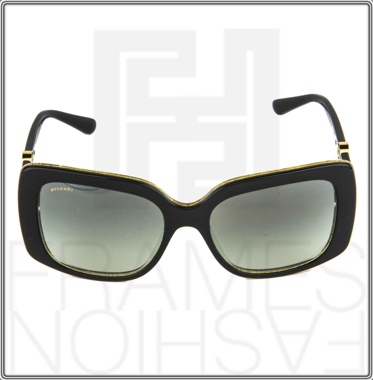 BVLGARI INTARSIO 8146B 5325/11 Black Gold Sunglasses 8146 Square Women Gradient image 7