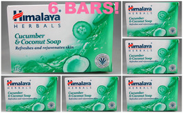 6 BARS! Himalaya Herbals Cucumber & Coconut Soap 125gm Refreshes  USA SE... - $22.00