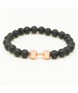 Fit Life Black Matte Stone Dumbbell Shape Bracelet Fitness Motivation Gy... - $12.58