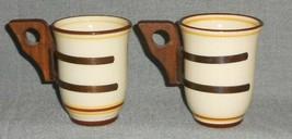 1930s Franciscan PADUA CREME BROWN PATTERN Set (2) Mugs METAL HOLDER - W... - $39.59