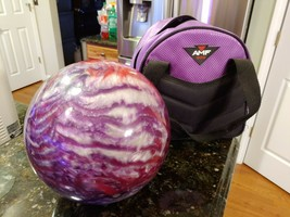 Bowling Ball Undrilled AMF XTREME Purple Red Silver Sparkles 6 LB with C... - $99.95