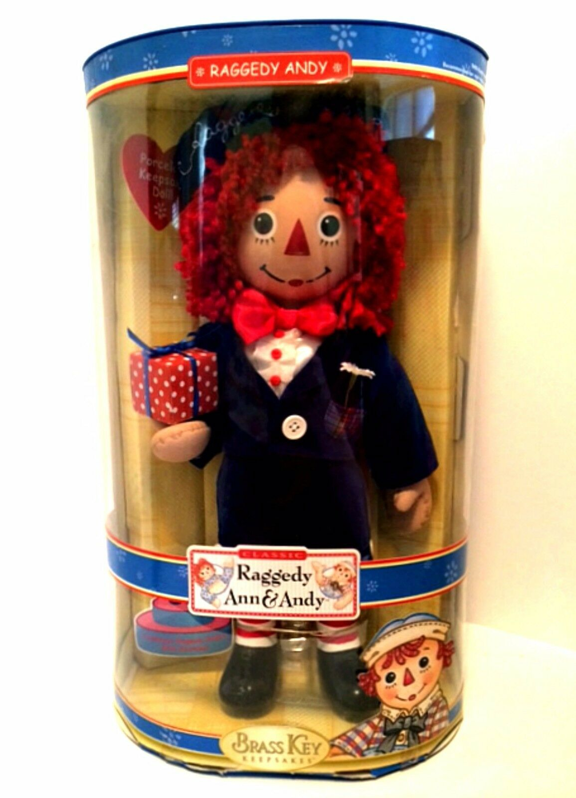 Primary image for Raggedy Andy Porcelain Doll 85th Anniversary Brass Key Keepsakes 14 inches Tall