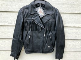 Harley Davidson Women Motor Cycle Genuine Leather Basic Fringe Jacket - ... - $346.50