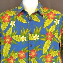 Joe Kealoha's Reyn Spooner Hawaiian Shirt M Blue Floral Tropical Aloha - $38.65