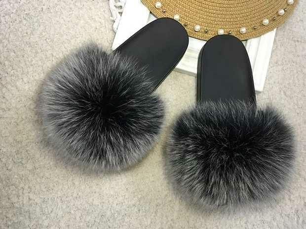 5f871b2a9c46 female star fur sandals frost grey snow poms puffs flip flops genuine fox  furry