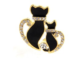 Goldtone Double Cat Rhinestone Pave Pin Brooch - $13.95