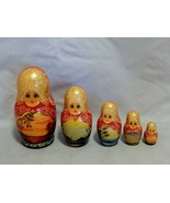 Beautiful Signed Russian Set of 5 Nesting Dolls Decorated with Scenery - $24.75