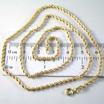 18K YELLOW GOLD CHAIN NECKLACE, BRAID ROPE LINK 19.69 INCHES, MADE IN ITALY image 1
