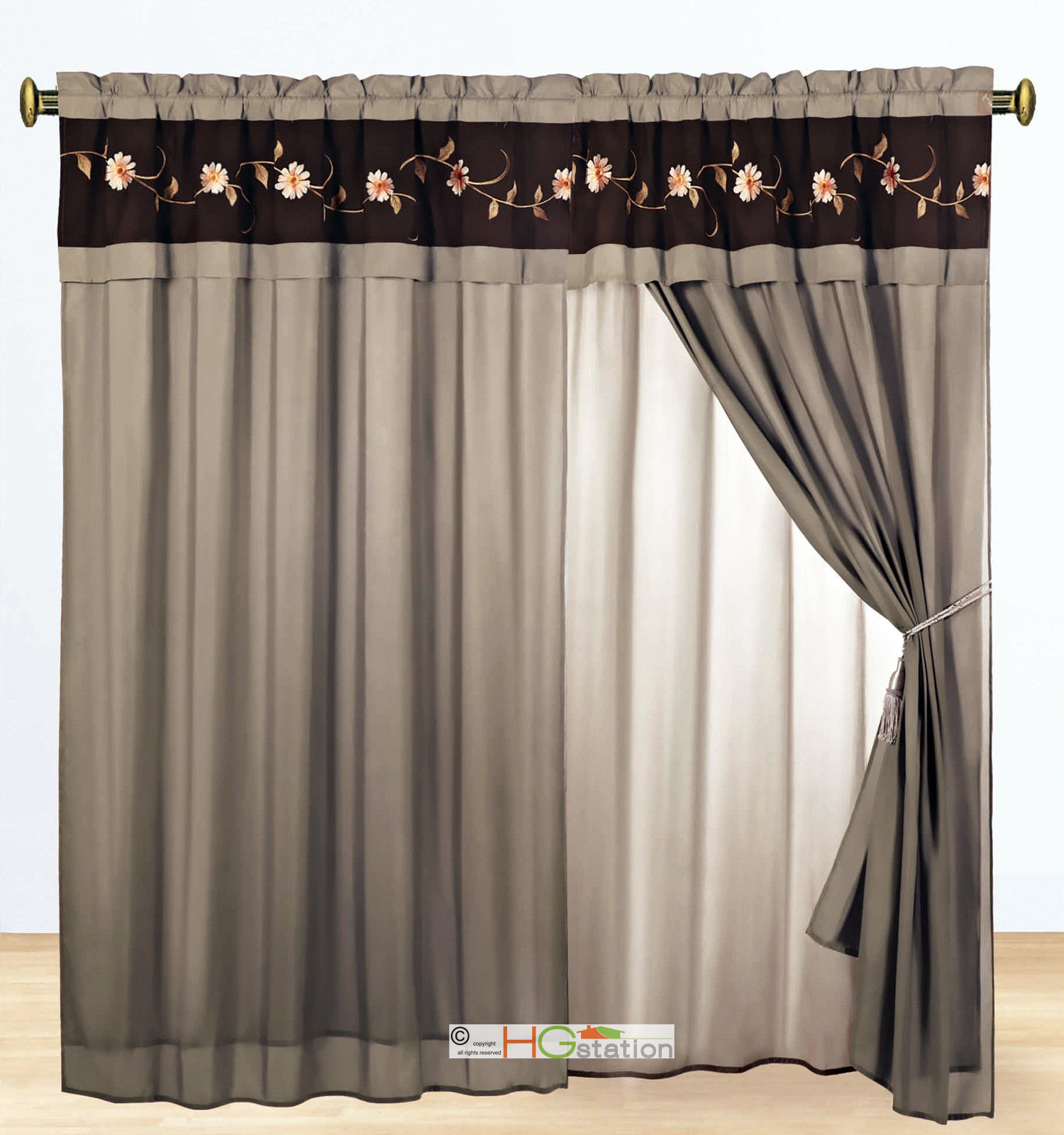 Primary image for 4-Pc Floral Scroll Vine Embroidery Curtain Set Taupe Khaki Brown Valance Liner