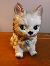 Vintage Inarco Ceramic Cat Kitten Planter White Gray Made in Japan 7'' tall - $21.78