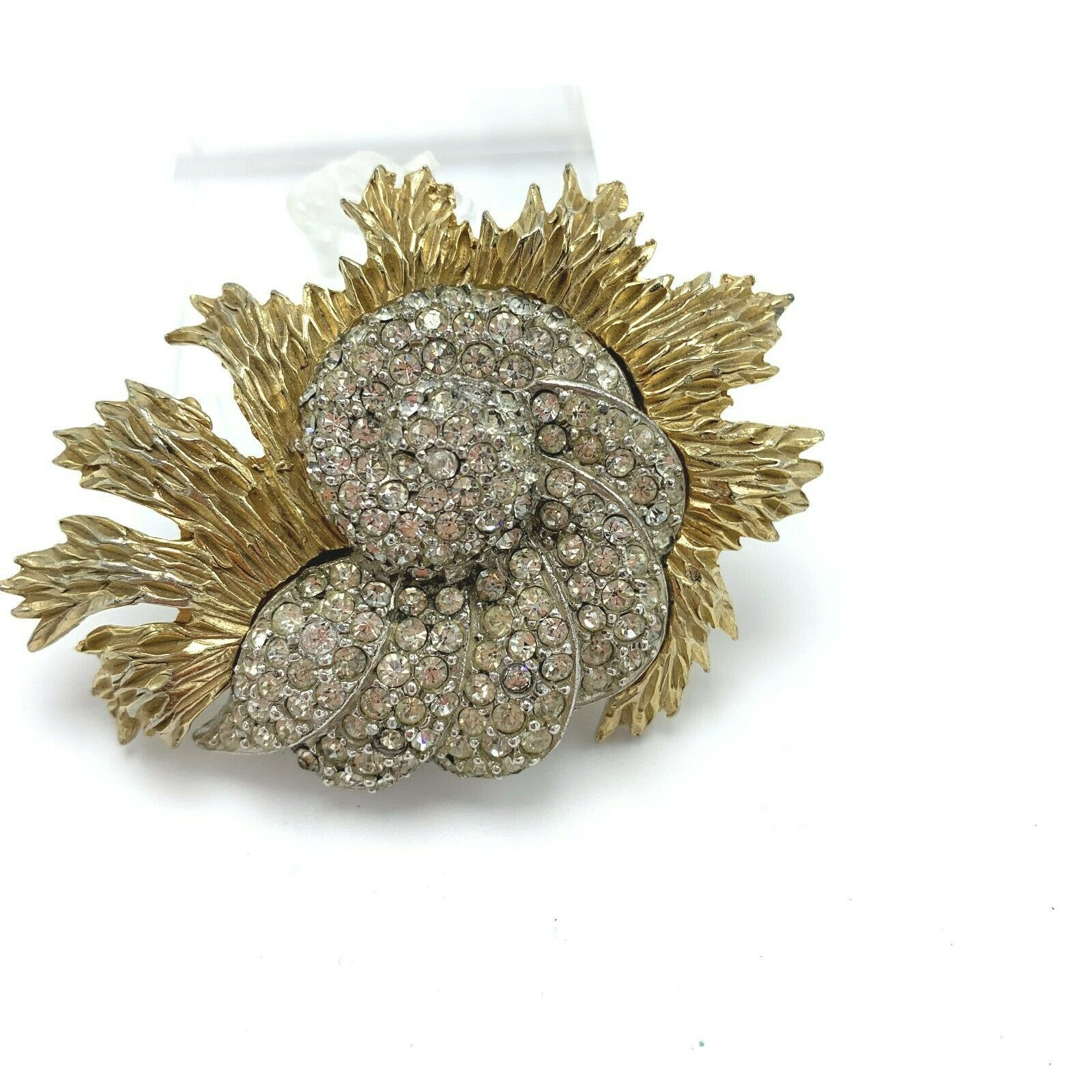 Diamante Pave Rhinestone Gold Plated Nautical Shell Brooch Pin by Ledo Polcini - $24.22