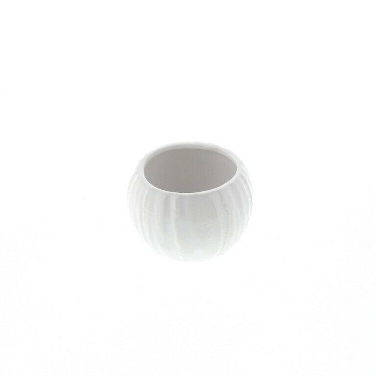Set of 2 Chic Pure White Textured Ceramic Round Votive Candle Holders image 6