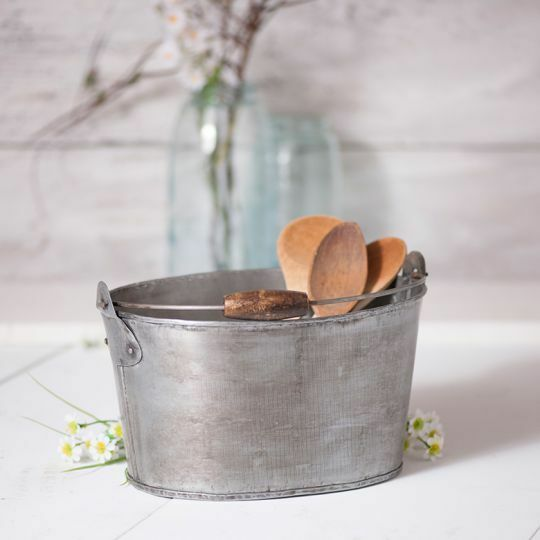 Country new set 3 antiqued brush tin Oval Buckets w/handles