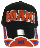 Miami Men's 2-Tone Curved Brim Adjustable Baseball Cap Black/Red - $11.95