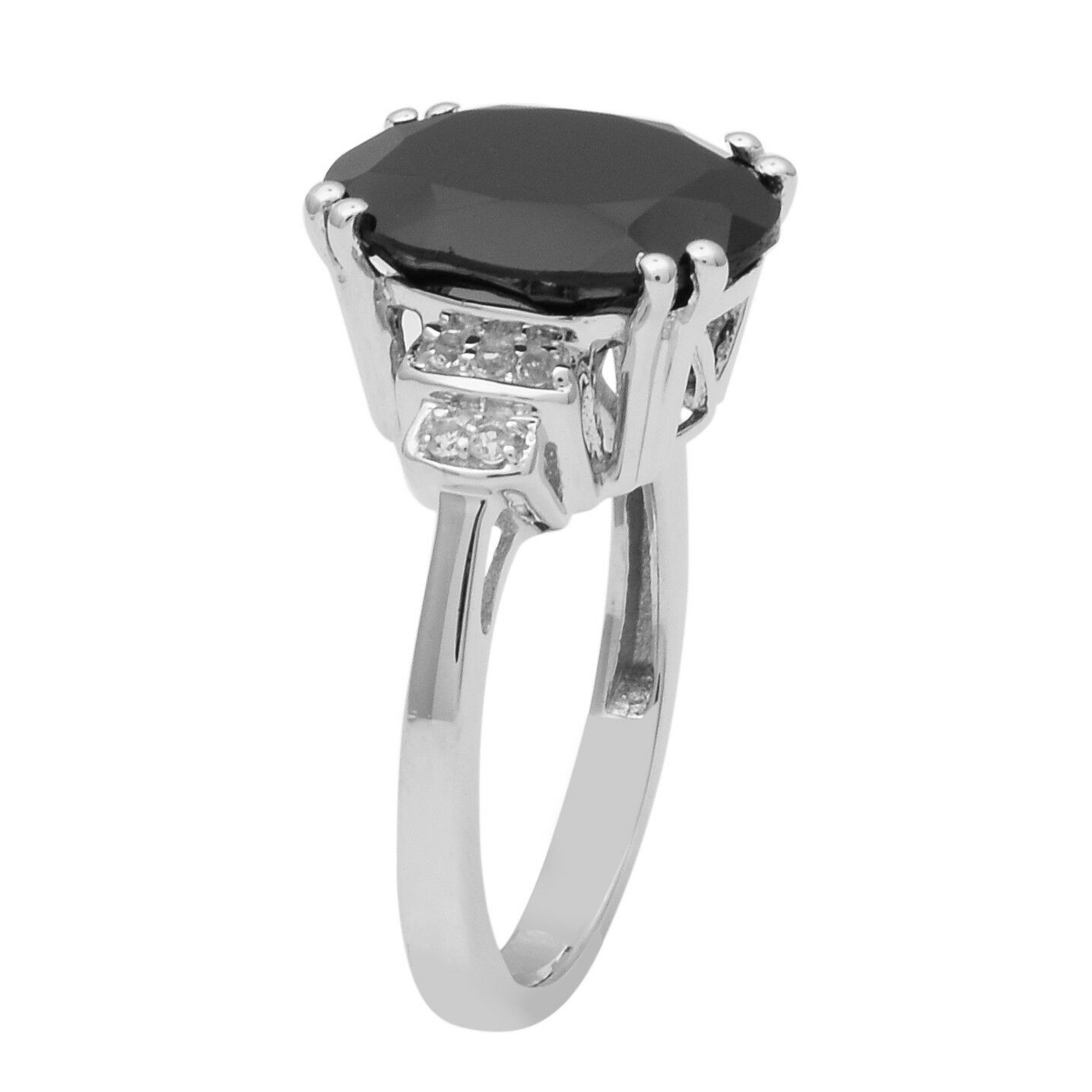 Sterling Silver Oval Cut Black Spinel & White Topaz Solitaire Women Wedding Ring