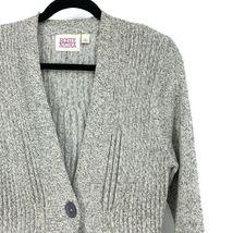 Anthropologie Rosie Neira Womens Sz L Marled Gray Cardigan Sweater Single Button image 4