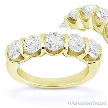 Round Cut Forever ONE D-E-F Moissanite 14k Yellow Gold 5-Stone Band Wedd... - €1.272,27 EUR+
