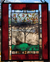Personalized Family Tree Stained Glass Window Panel RED Amber Green Gold - $197.00