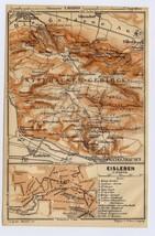 1910 ANTIQUE MAP OF EISLEBEN MARTIN LUTHER TOWN KYFFHAUSER SAXONY-ANHALT... - $11.88