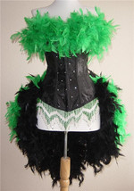 Pick Size & Color- Crystal Feather Brocade Showgirl Saloon Girl Moulin B... - $199.99