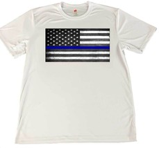 Thin Blue Line American Flag Wicking Material T-Shirt & Car Coaster - $14.80+