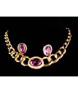 "Vintage Christian Dior necklace - purple rhinestone earrings - 16"" choke... - $395.00"