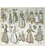 FRANCE late 19th C Costume Women Headgear - TINTED Litho Print by Racinet - $12.15
