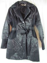 DKNY Black Faux Leather Sweater Sides Light Weight Belted  Jacket Button... - $37.99