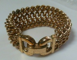 Vintage Signed BERGE' Heavy Gold-tone Wide Chain Bracelet  - $34.65